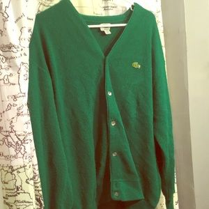 Lacoste Kelly green button up cardigan